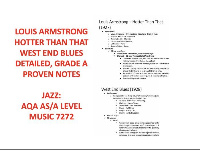 Louis Armstrong- Hotter Than That, West End Blues AS/A-Level MUSIC NOTES AQA