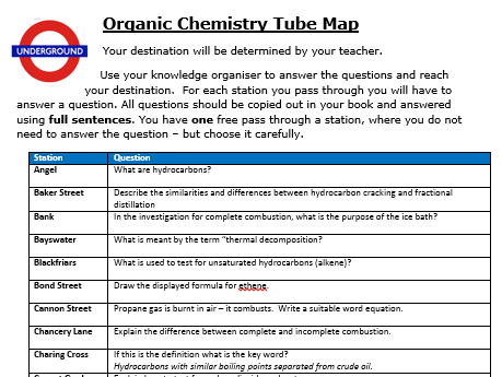 2018 Differentiated Organic Chemistry Revision/DIRT Activity