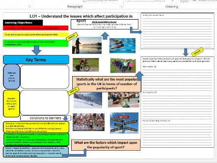 OCR Cambridge Nationals Sport Studies Revision learning Mats