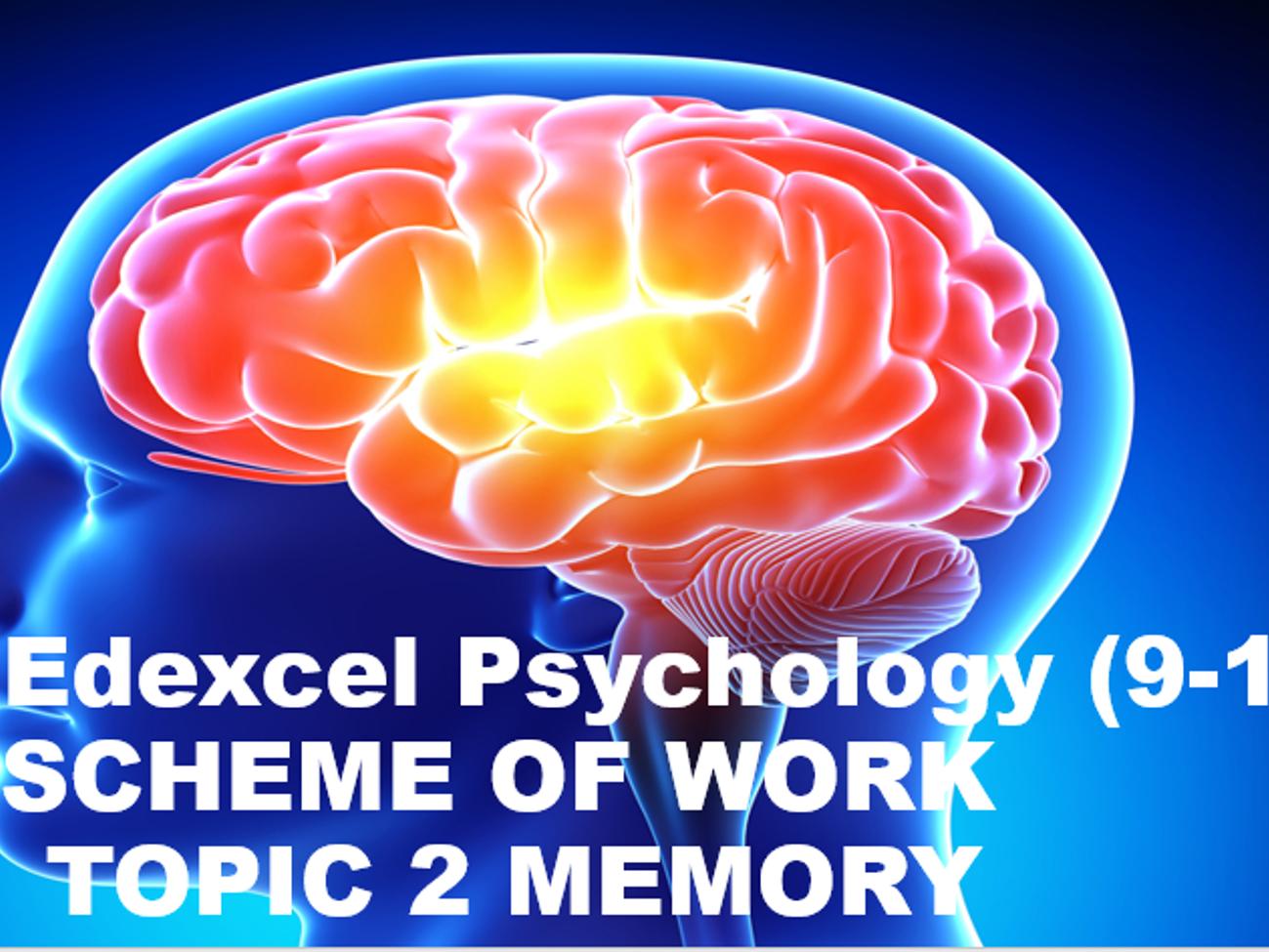 GCSE Edexcel Psychology (9-1) SCHEME OF WORK FOR  TOPIC 2 MEMORY