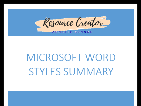 Free Microsoft Word Styles Summary Sheet