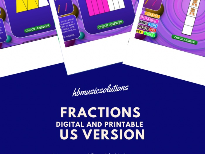 Fractions US Version Digital Interactive and Printable Math Games Resource