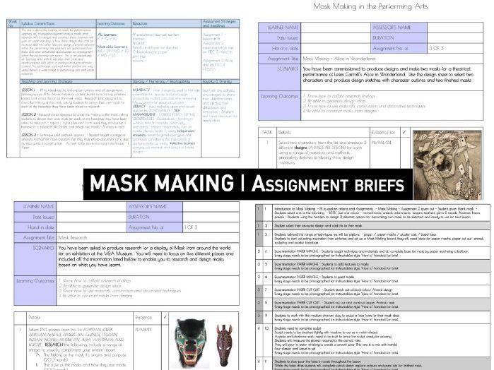 MASK MAKING | Assignment briefs