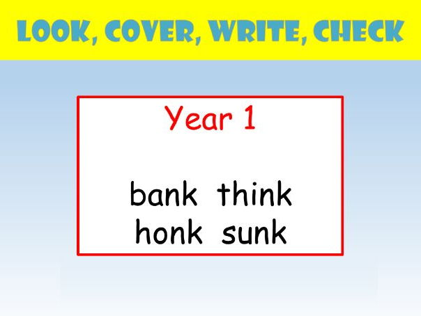 Y1 English Spelling PowerPoint: Look Cover Write Check ( n before k words).