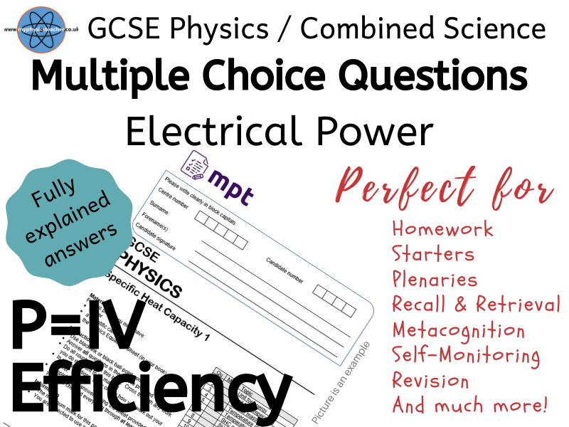 Electrical Power -Multiple Choice Physics Paper 1 AQA questions - combined science or separate #slop