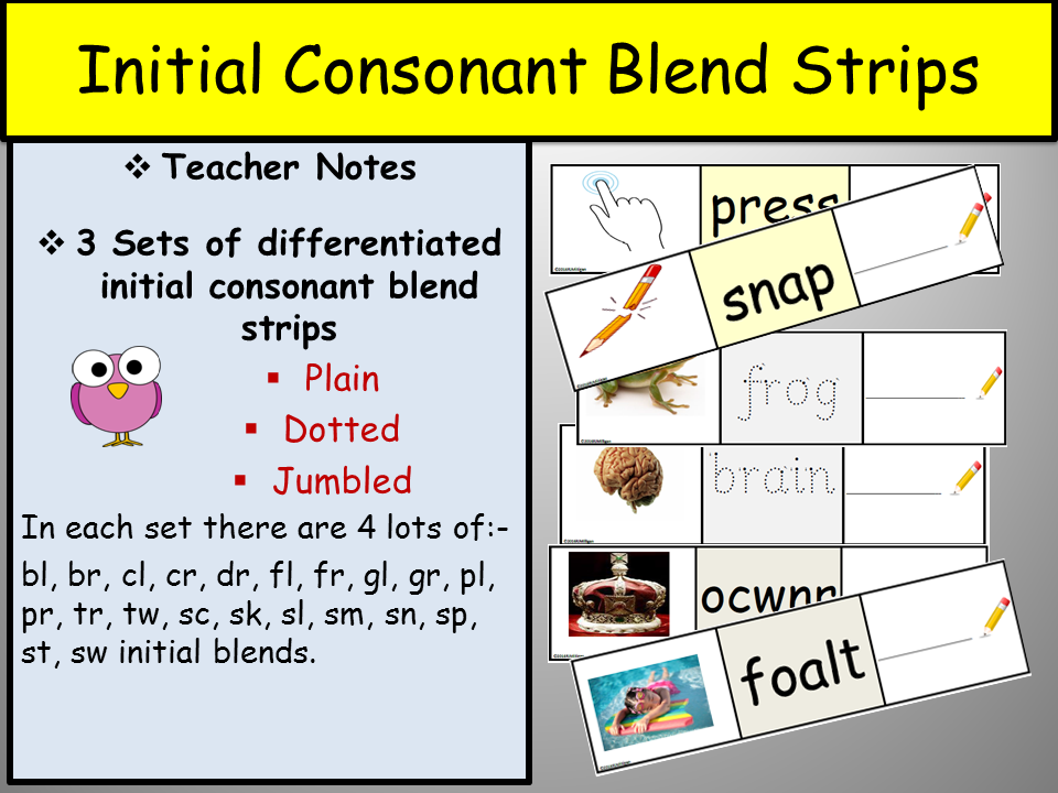 Consonant Blends 21 Initial Consonant Blends Differentiated