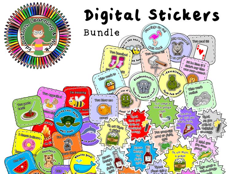 Puns for Fun Digital Sticker Bundle: Google Classroom, SeeSaw, Distance Learning
