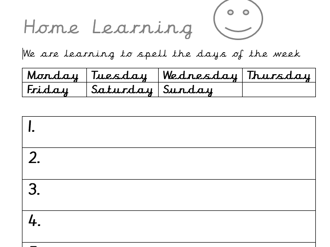 Home Learning Days of the Week