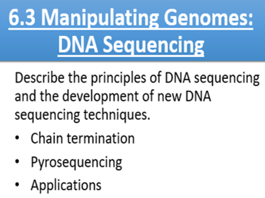 New Spec A2 OCR Biology A. 6.3 Manipulating Genomes: DNA Sequencing & Applications