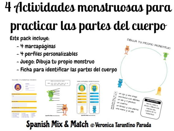 PARTS OF THE BODY MONSTER-DESCRIPTION GAMES FOR SPANISH