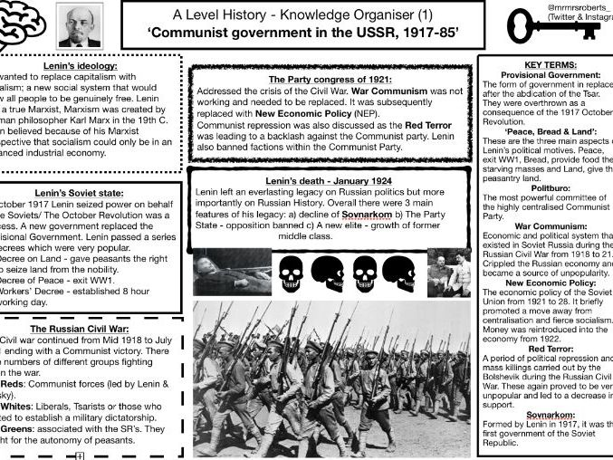 A Level History - Russia 1917-91 - Knowledge Organiser - 'Comm govt in the USSR 1917-85'