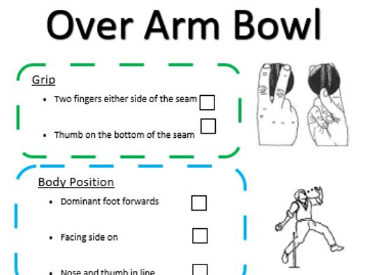 Over Arm Bowl Cricket Reciprocal Sheet