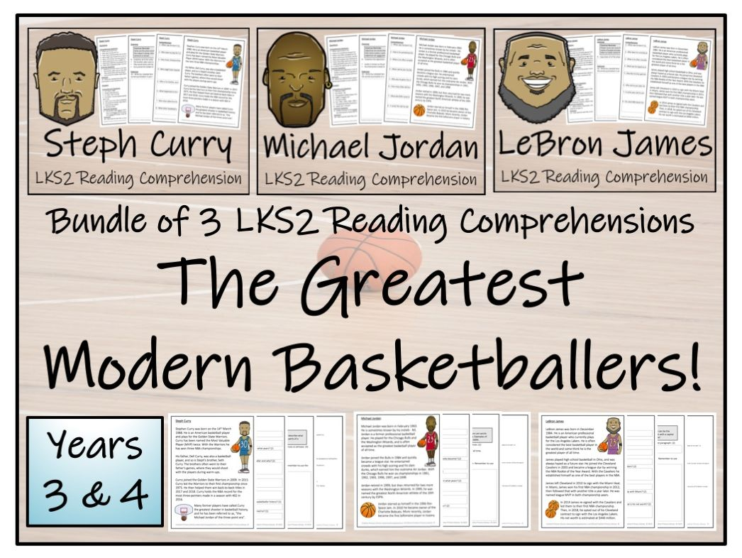 LKS2 Literacy - Best Modern Basketball Players Bundle of Reading Comprehension Activities