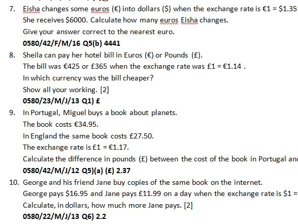 Worksheet Money Exchange with answers from IGCSE Mathematics 0580