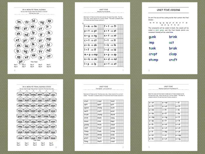 Phonics Intervention Workbook for 1-1 Support - Final Blends