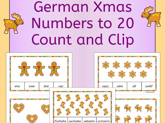 German Christmas Weihnachten Numbers Zahlen Count and Clip Cards