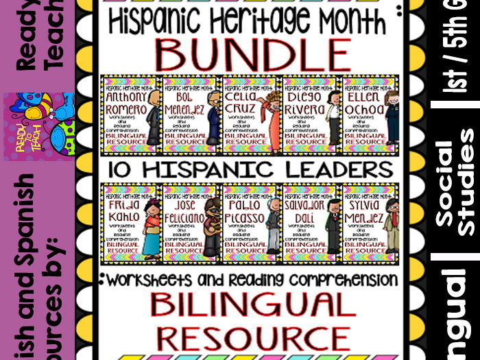 Hispanic Heritage Month - Bundle - Worksheets and Readings (Bilingual)