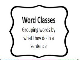 Word Class Poster (Parts of Speech)