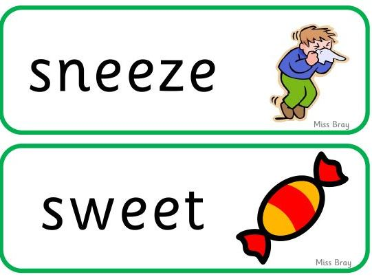 'ee' word cards - Phase 3 Phonics