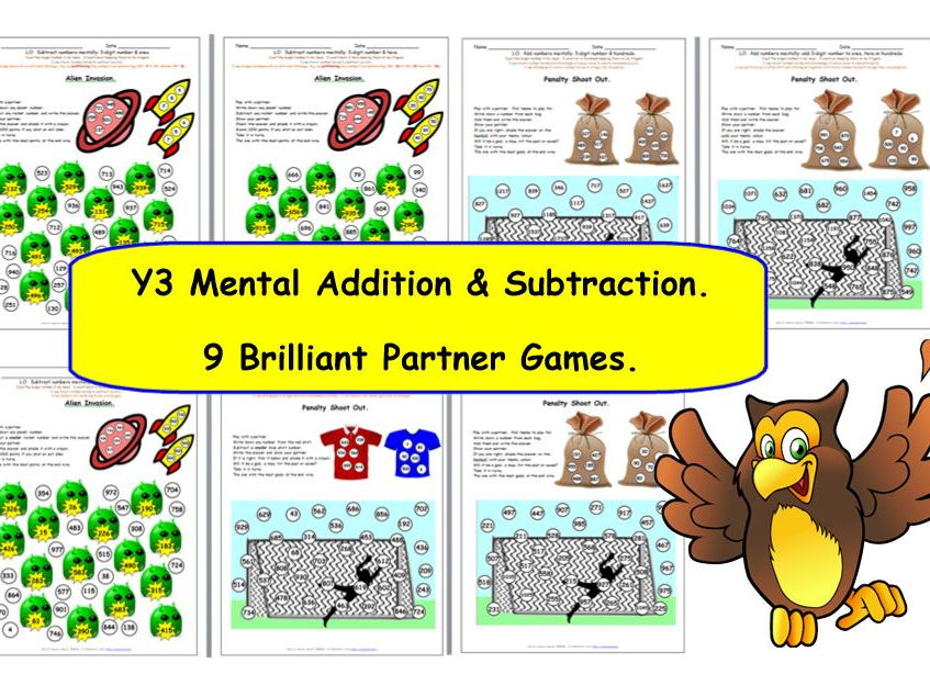 Y3 Add & subtract numbers mentally: 3-digit number & ones, tens or hundreds.  Penalty Shoot Out.