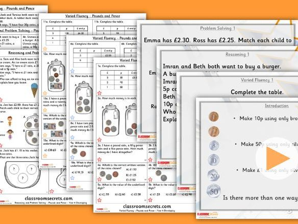 FREE Year 4 Pounds and Pence Summer Block 2 Lesson Pack