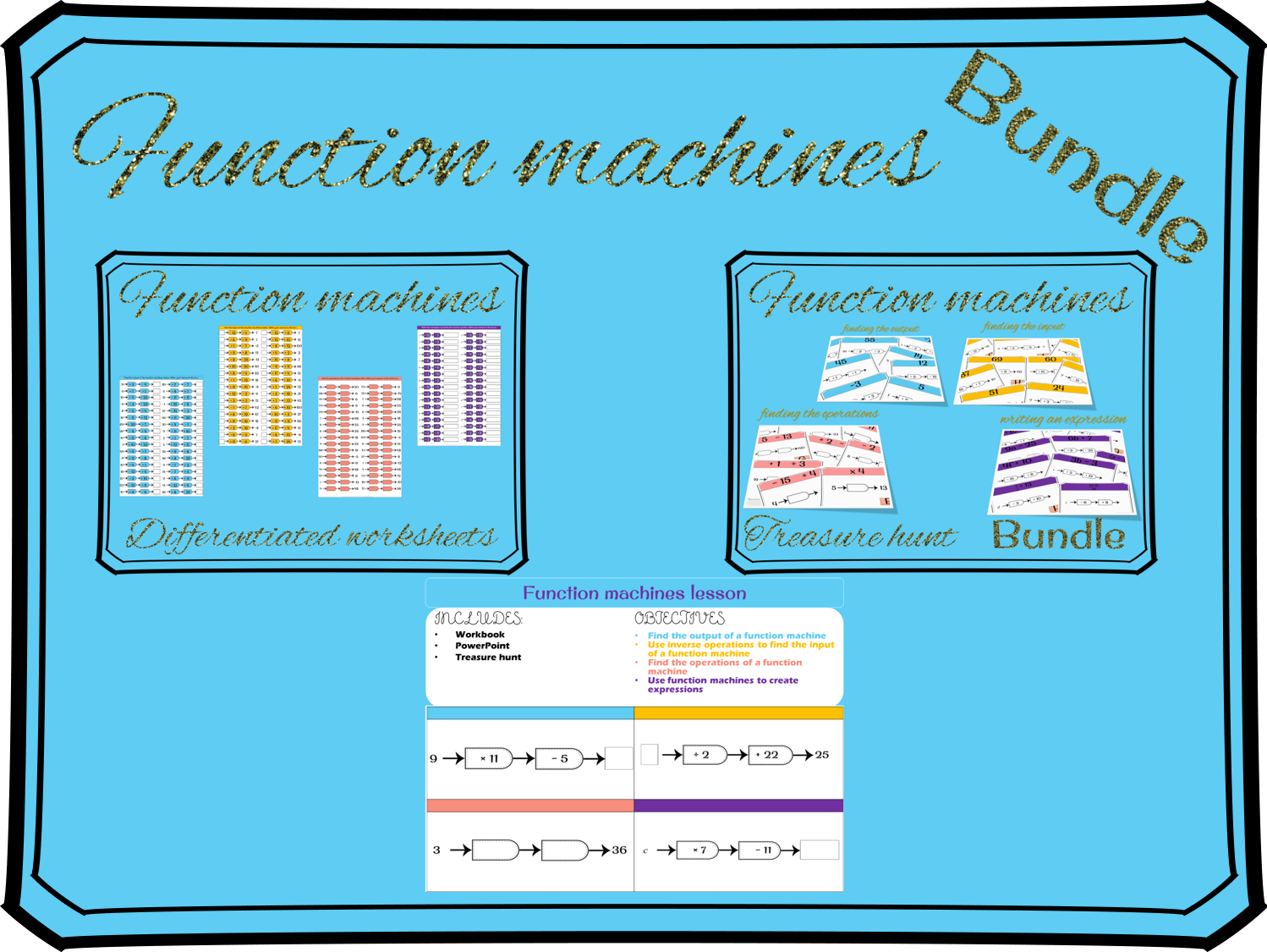 Function machines worksheets (differentiated) by MissEHoney ...