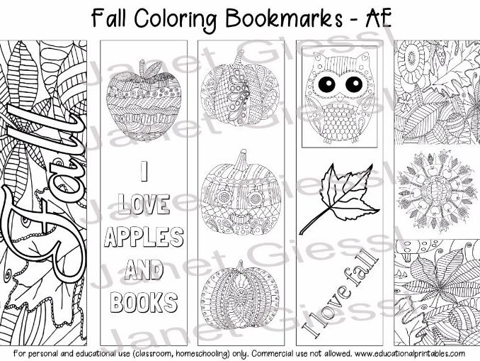 Fall Coloring Bookmarks (American English) - Set of 5