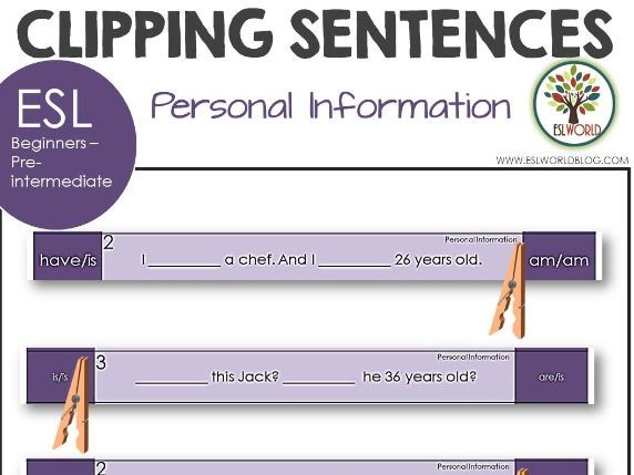 Sentence Clip Cards Personal Information