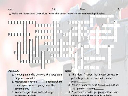 News Media Crossword Puzzle