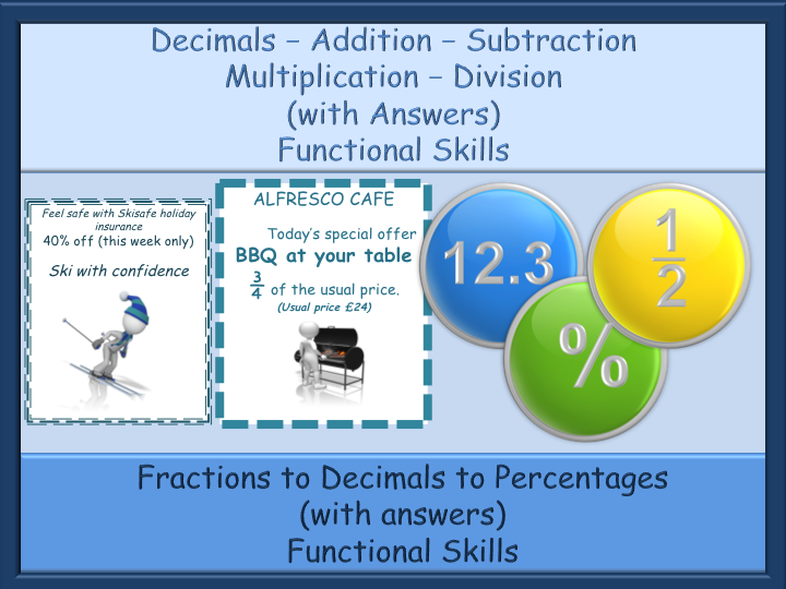 Decimals, Fractions, Percentages Worksheets - with Answers - Functional Skills L1