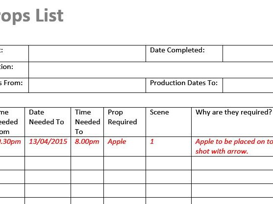 Props List (Film & TV/Media/Drama Students)