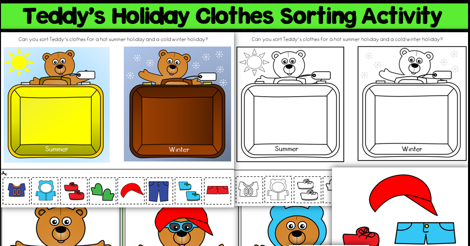 Teddy's Holiday Clothes Sorting Activiies