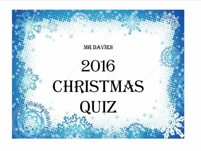 2016 Christmas Qwizdom Quiz - With picture round worksheet