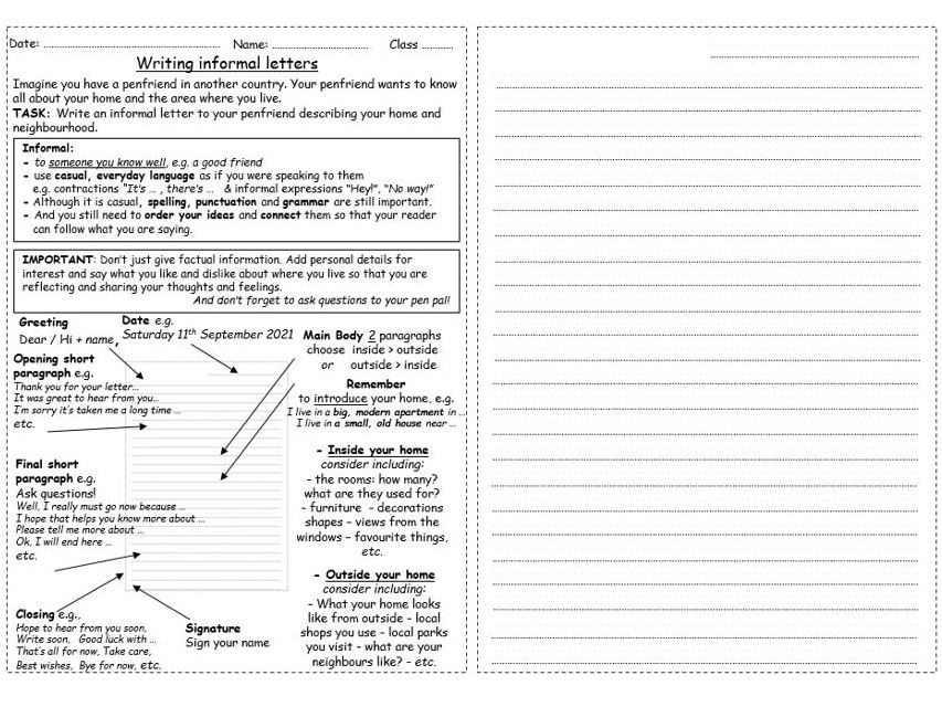 Informal letter writing PPT worksheet/handout