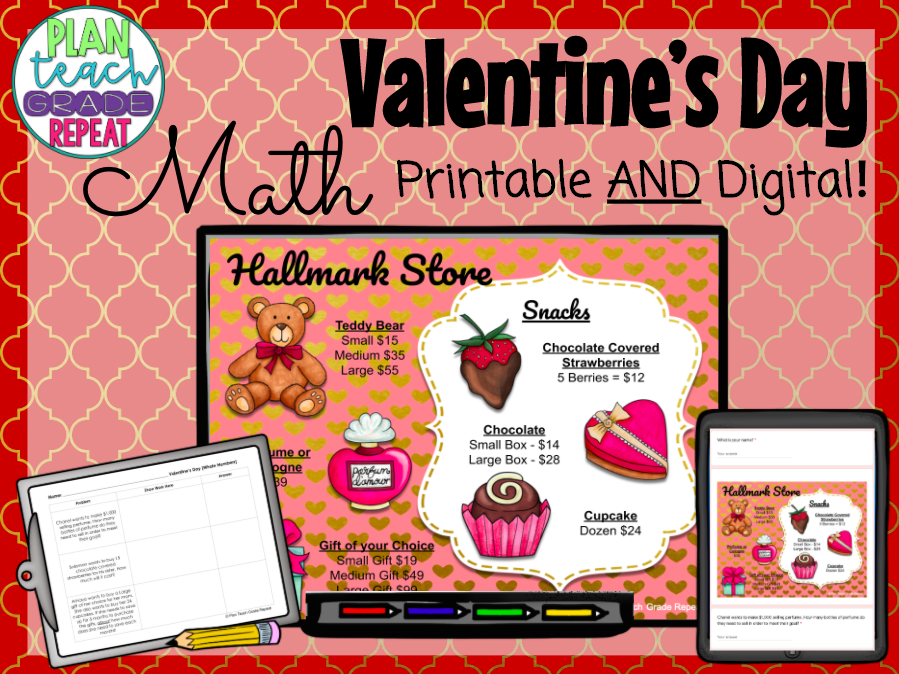 Valentine's Day Math - Whole Numbers Decimals Fractions