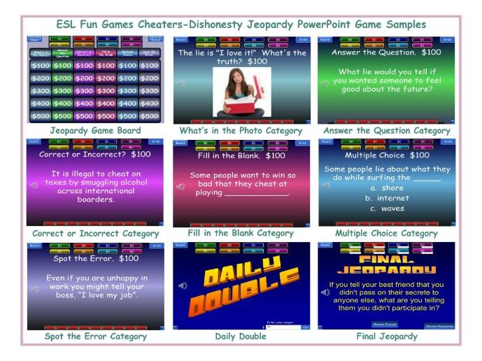 Cheaters-Dishonesty Jeopardy PowerPoint Game