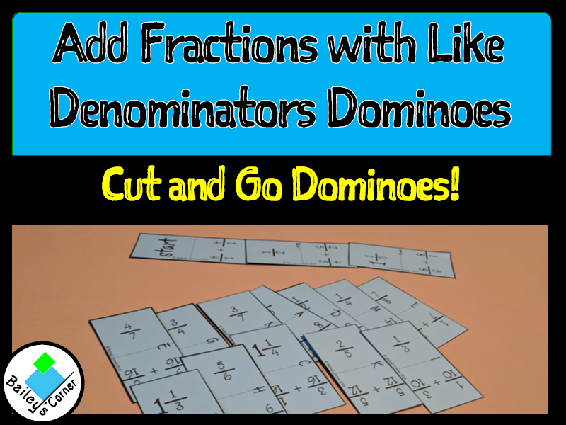 Add Fractions with Like Denominators Dominoes
