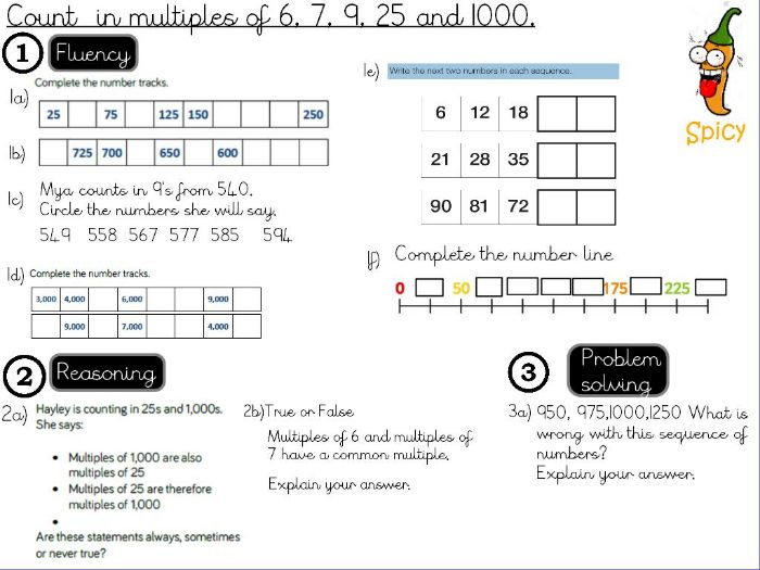Place value - Count  in multiples of 6, 7, 9, 25 and 1000
