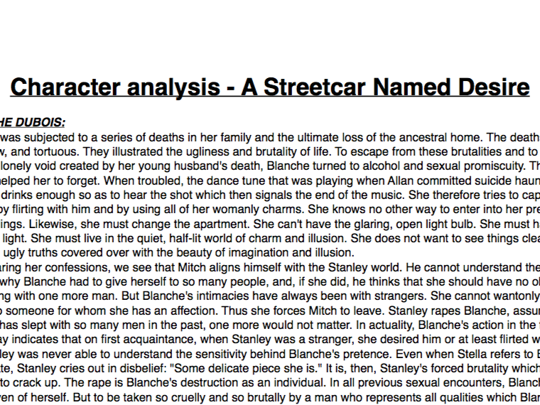 A Streetcar Named Desire revision