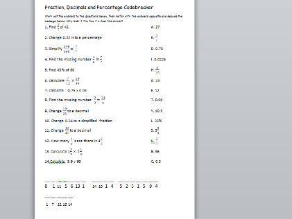 Code breaker to practise converting between fraction, decimals and %