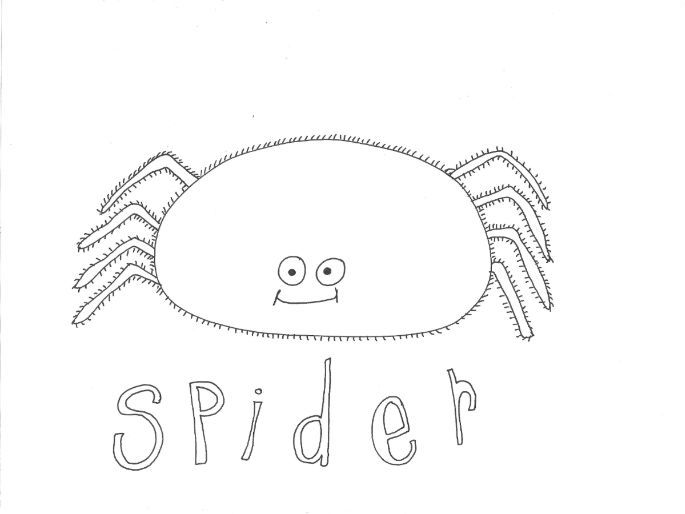 Spider (Bugs, Insects, Minibeasts) Colouring Page