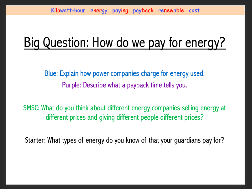 Year 8 Paying for Energy lesson (8Ke)