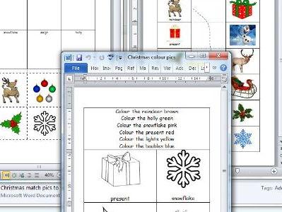 easy Christmas word reading tasks for SEND pupils