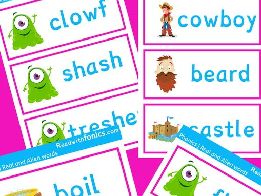 Phonics screening flashcards | Real and Alien words