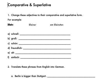 German Comparative/Superlative Worksheet