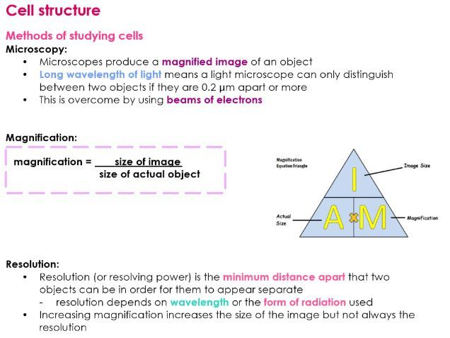 AQA A Level METHODS OF STUDYING CELLS Biology Notes for NEW 7402 A LEVEL  SPEC