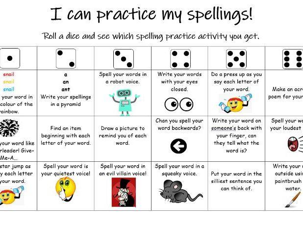 Spellings practice grid