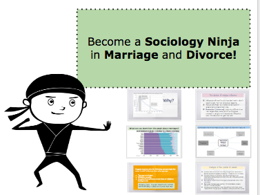 *FULL LESSON* Become a A-Level Sociology Ninja: Marriage and Divorce. Editable.