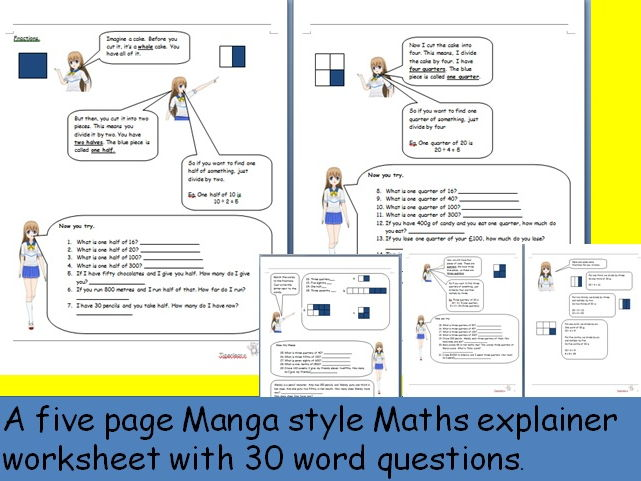 Manga style Fractions explainer and worksheet with simple word questions.