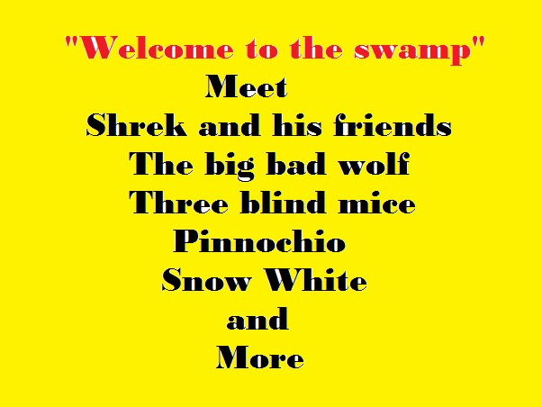"""""""Welcome to Shrek's fairyland"""" Upbeat song about the characters in the Swamp"""